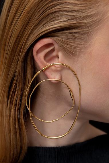 Double Hoop Earrings, Vermeil