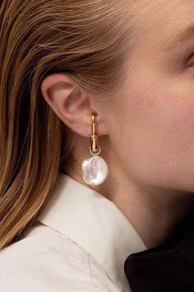 Pearl Drop Earrings, Vermeil